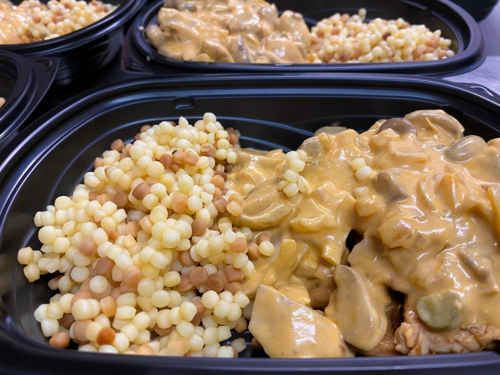 Chicken Stroganoff with Pearl Cous Cous